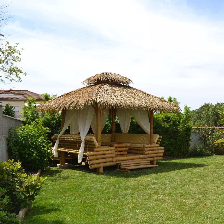 Gazebo Bambou Ou Paillote Bambou, Salon De Jardin, Pergola ... concernant Salon De Jardin En Bambou