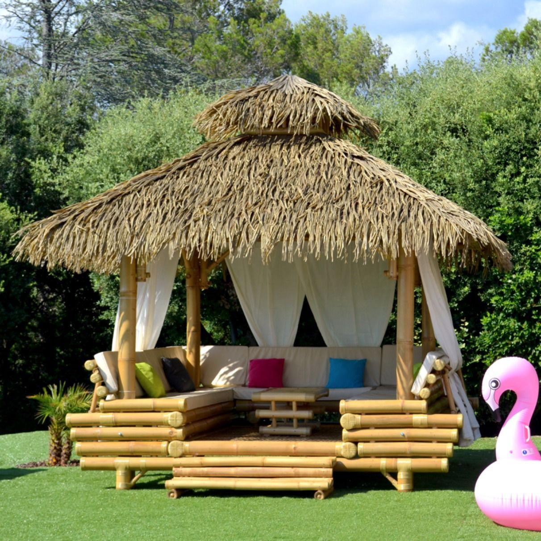 Gazebo Bambou Ou Paillote Bambou, Salon De Jardin, Pergola ... dedans Salon De Jardin En Bambou