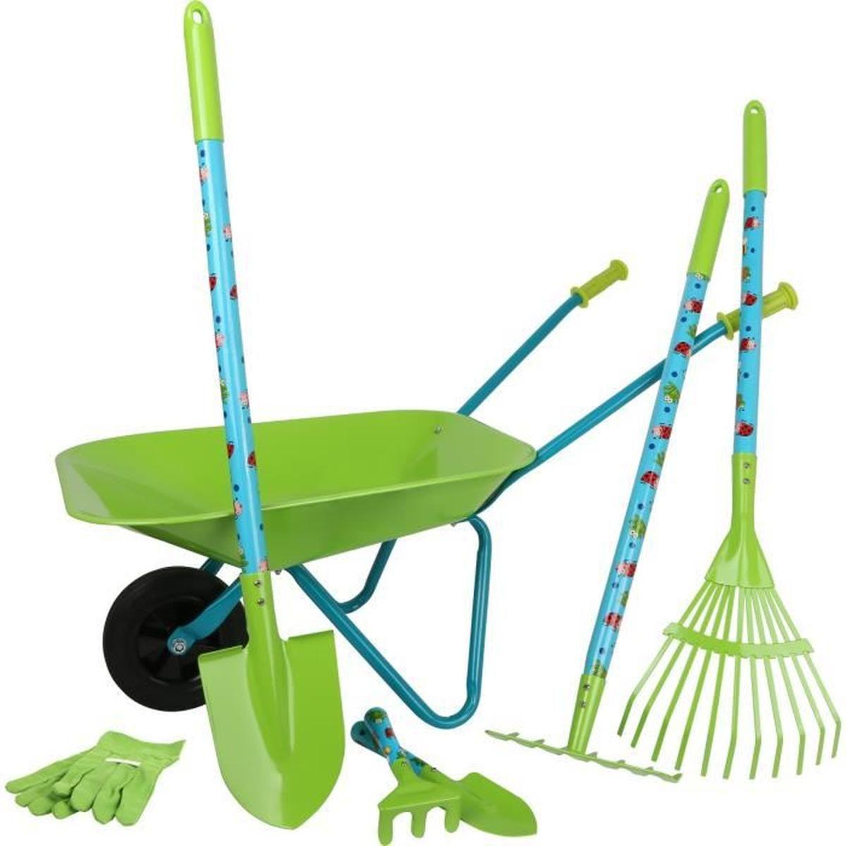 Grand Kit De Jardin Avec Brouette Pour Enfant - Achat ... avec Outils Jardin Enfant