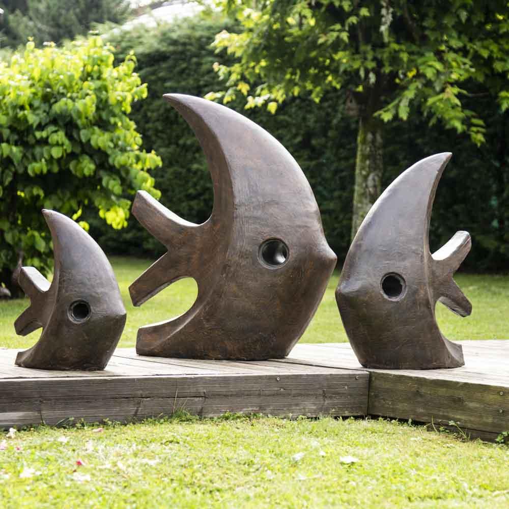 Grande Sculpture Moderne Poisson 100 Cm Brun concernant Sculpture Moderne Pour Jardin