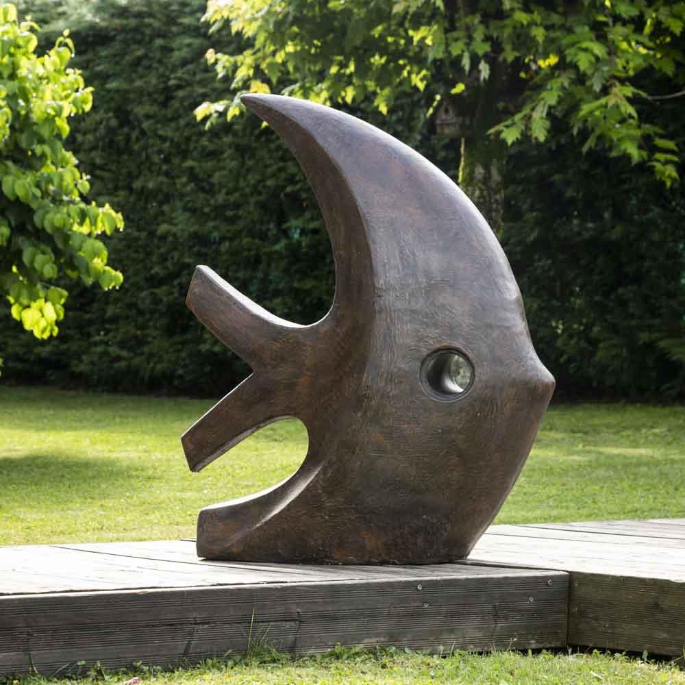Grande Sculpture Moderne Poisson 100 Cm Brun encequiconcerne Sculpture Moderne Pour Jardin