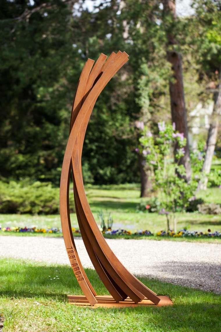Jardin Avec Statue Design En Fer   Corten Steel, Corten ... avec Sculpture Moderne Pour Jardin