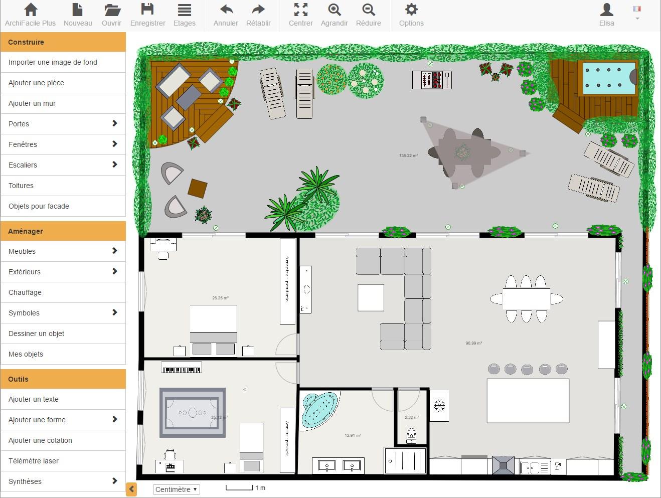 Plan Maison Gratuit - Avec Archifacile Dessinez Vos Plans De ... intérieur Créer Un Plan De Jardin Gratuit