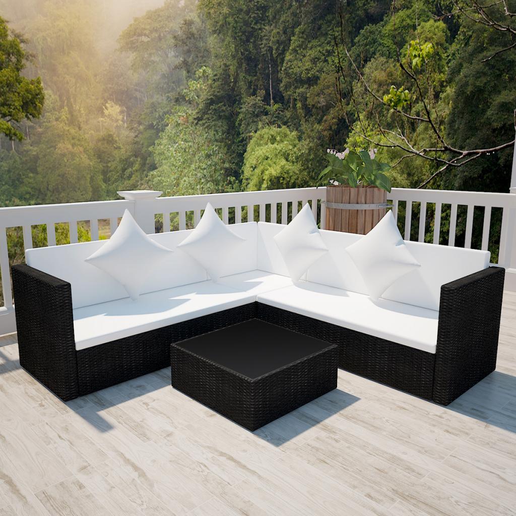 Poly-Rattan-Gartenmoebel-Lounge-Gartenset-Garnitur ... serapportantà Ebay Salon De Jardin