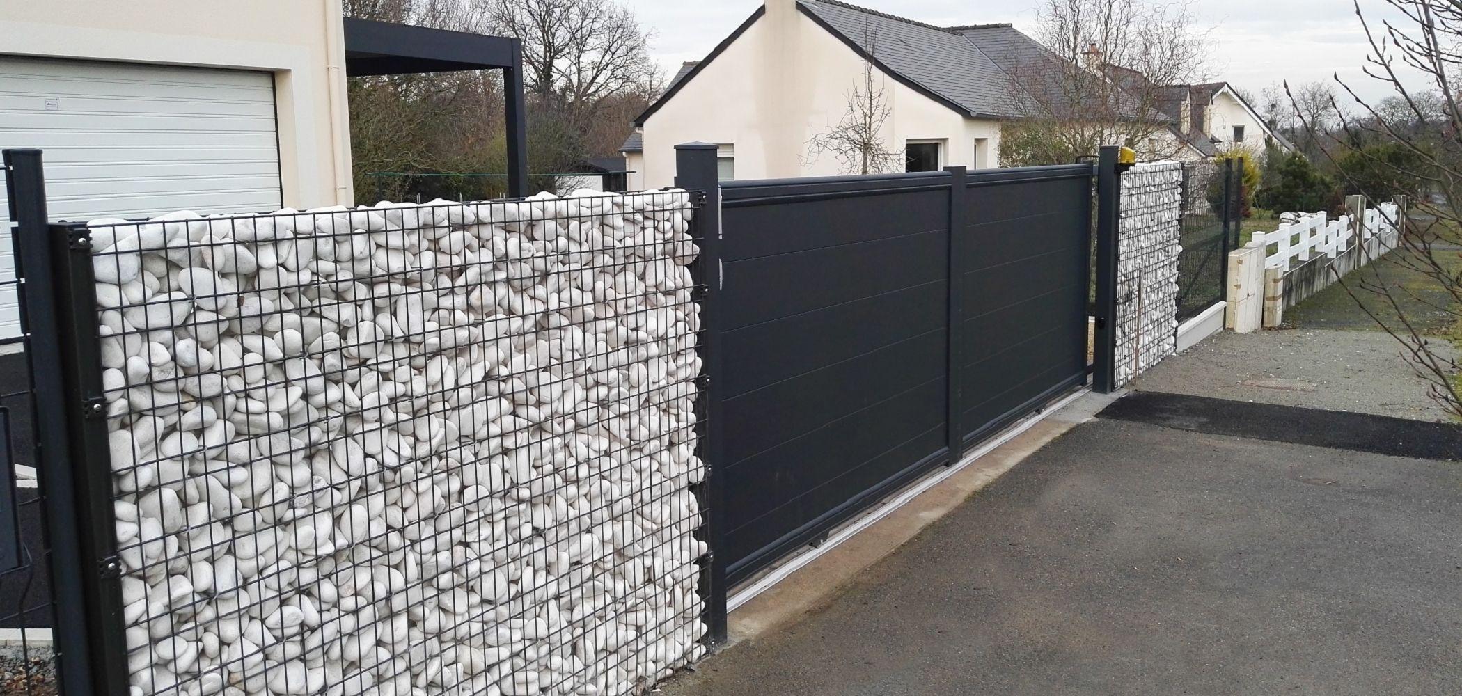 Portail + Clôture Grillage Rigide + Gabion | Grillage Rigide ... intérieur Grillage De Jardin Rigide