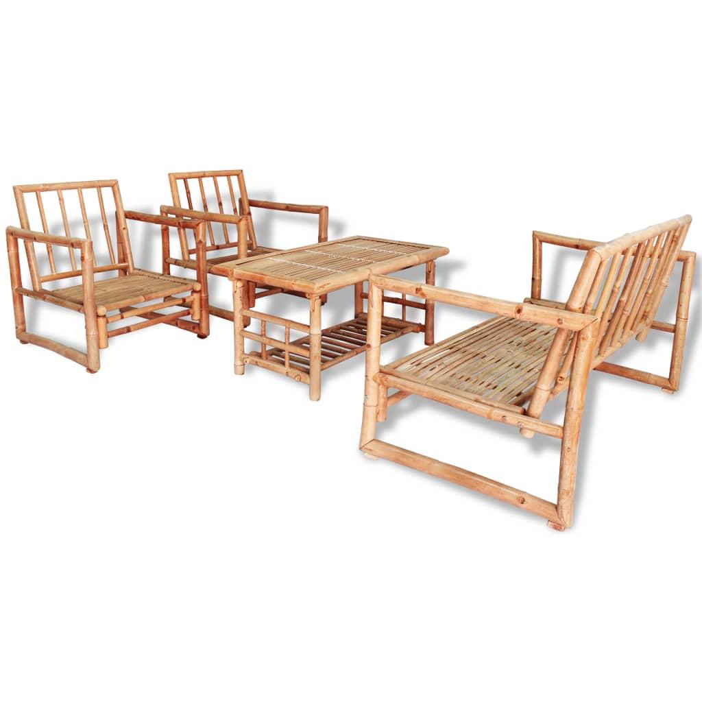 Salon De Jardin 4 Pcs Avec Coussins Bambou - 43159 dedans Salon De Jardin En Bambou