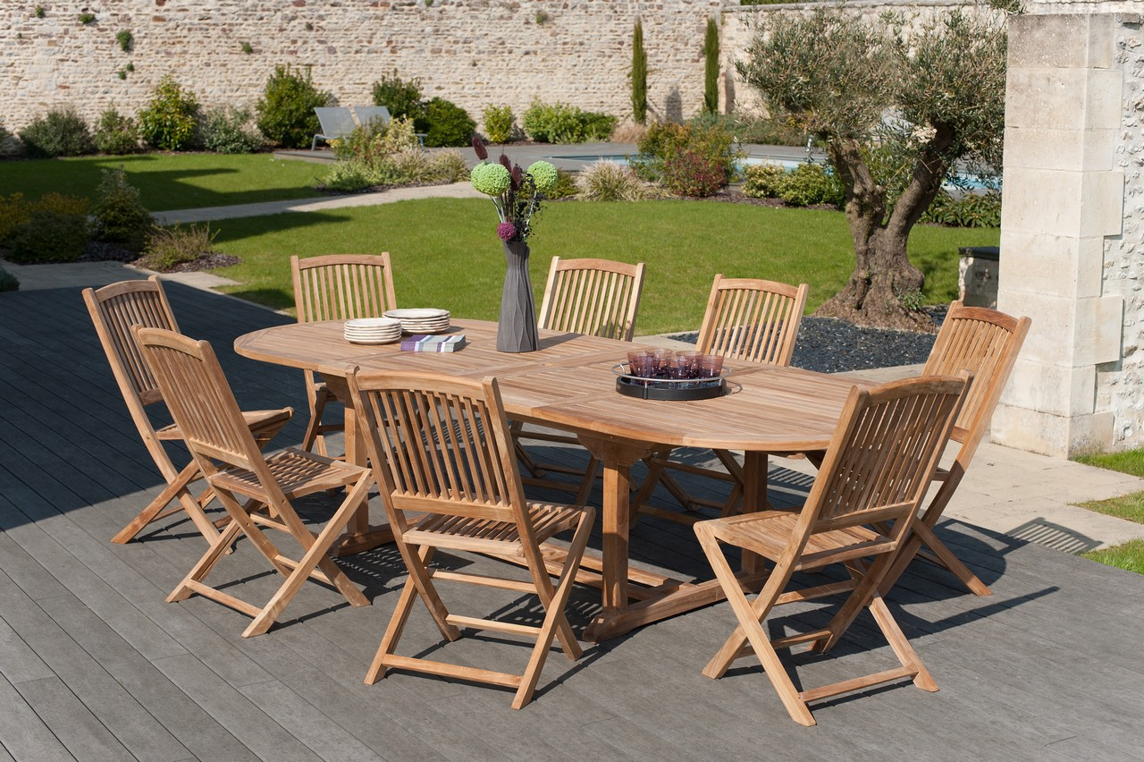 Salon De Jardin En Teck Table Ovale 200/300Cm 8 Chaises Summer pour Salon De Jardin Teck Massif