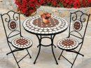 Salon De Jardin Mosaïque   Table Ronde (Ø/h: 60X70Cm) Et 2 ... pour Table De Jardin En Ceramique Ronde