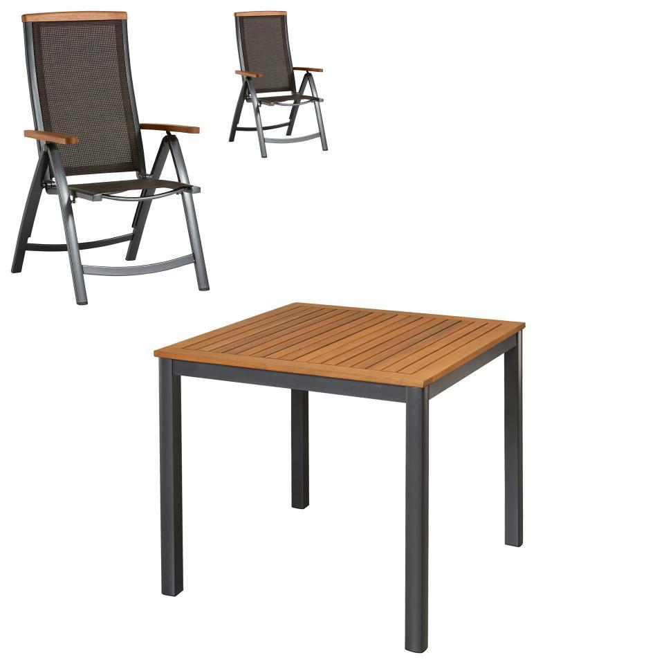 Salon De Jardin «San Francisco/santiago» (89X89, 2 Chaises, Anthracite) à Chaise Basse De Jardin