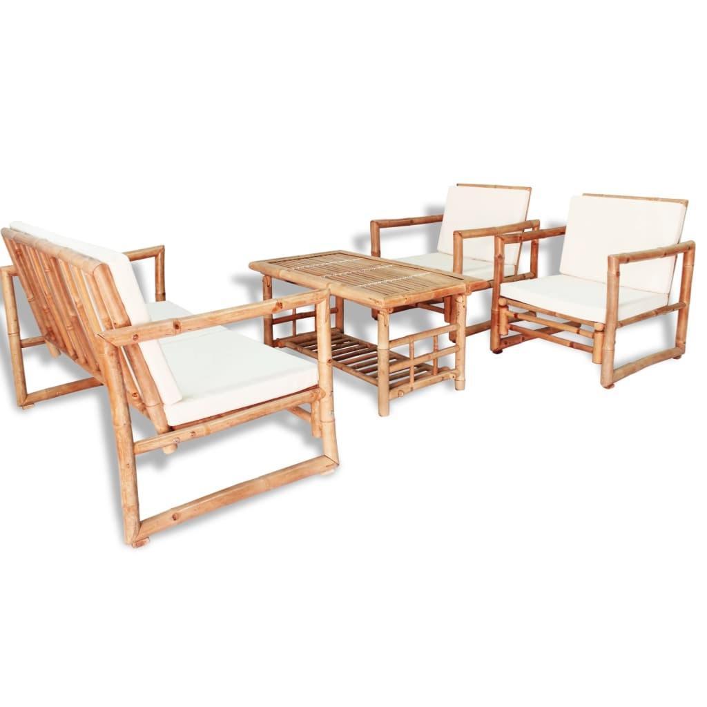 Salon Jardin Grand Confort, En Bambou, 4 Places concernant Salon De Jardin En Bambou