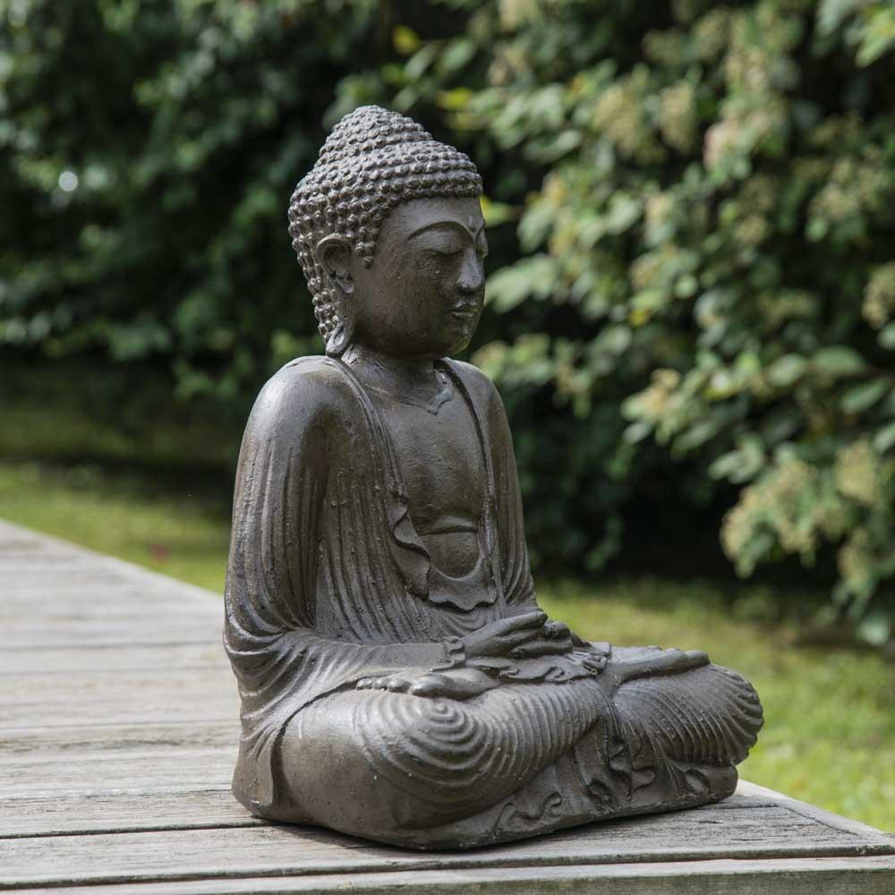 Statue Bouddha Assis Position Offrande Brun 42 Cm concernant Statue Bouddha Exterieur Pour Jardin