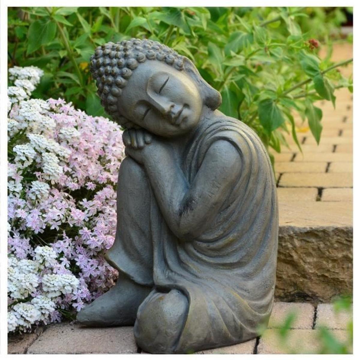 Statue Bouddha Jardin Décoration Zen 43 Cm - Achat / Vente ... à Statue De Jardin Pas Cher