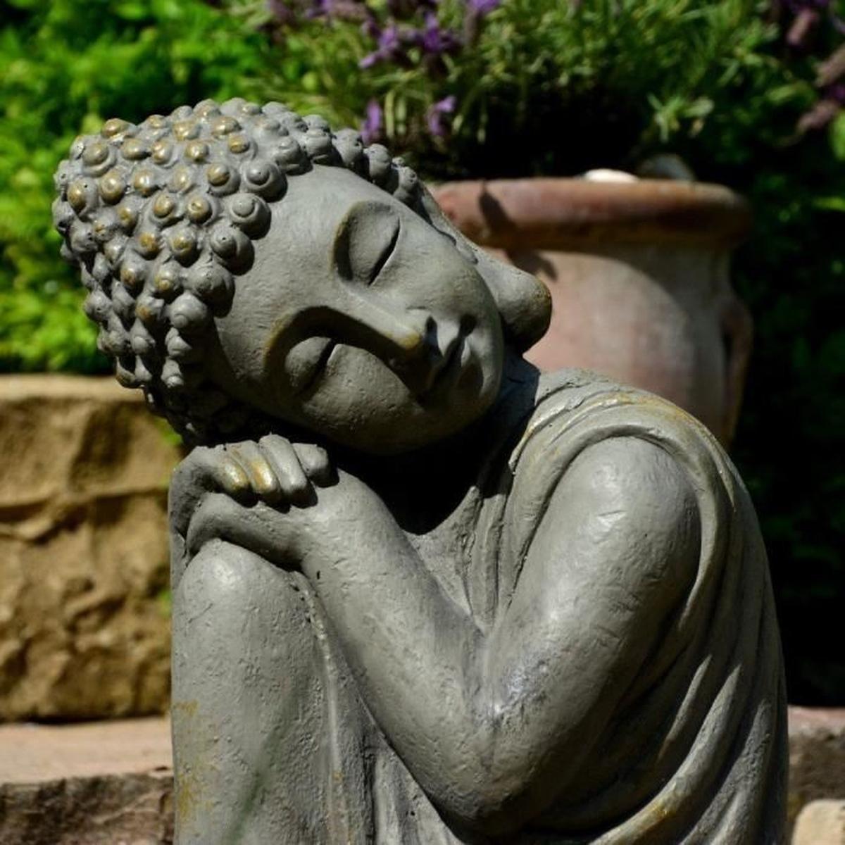 Statue Bouddha Jardin Décoration Zen 43 Cm destiné Statue Bouddha Exterieur Pour Jardin
