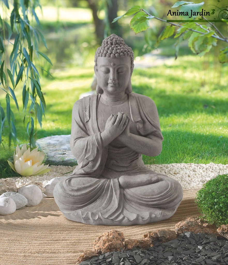Statue Buddha 60 Cm En Fibre De Verre, Aspect Pierre, Décoration De Jardin serapportantà Statue De Jardin Pas Cher