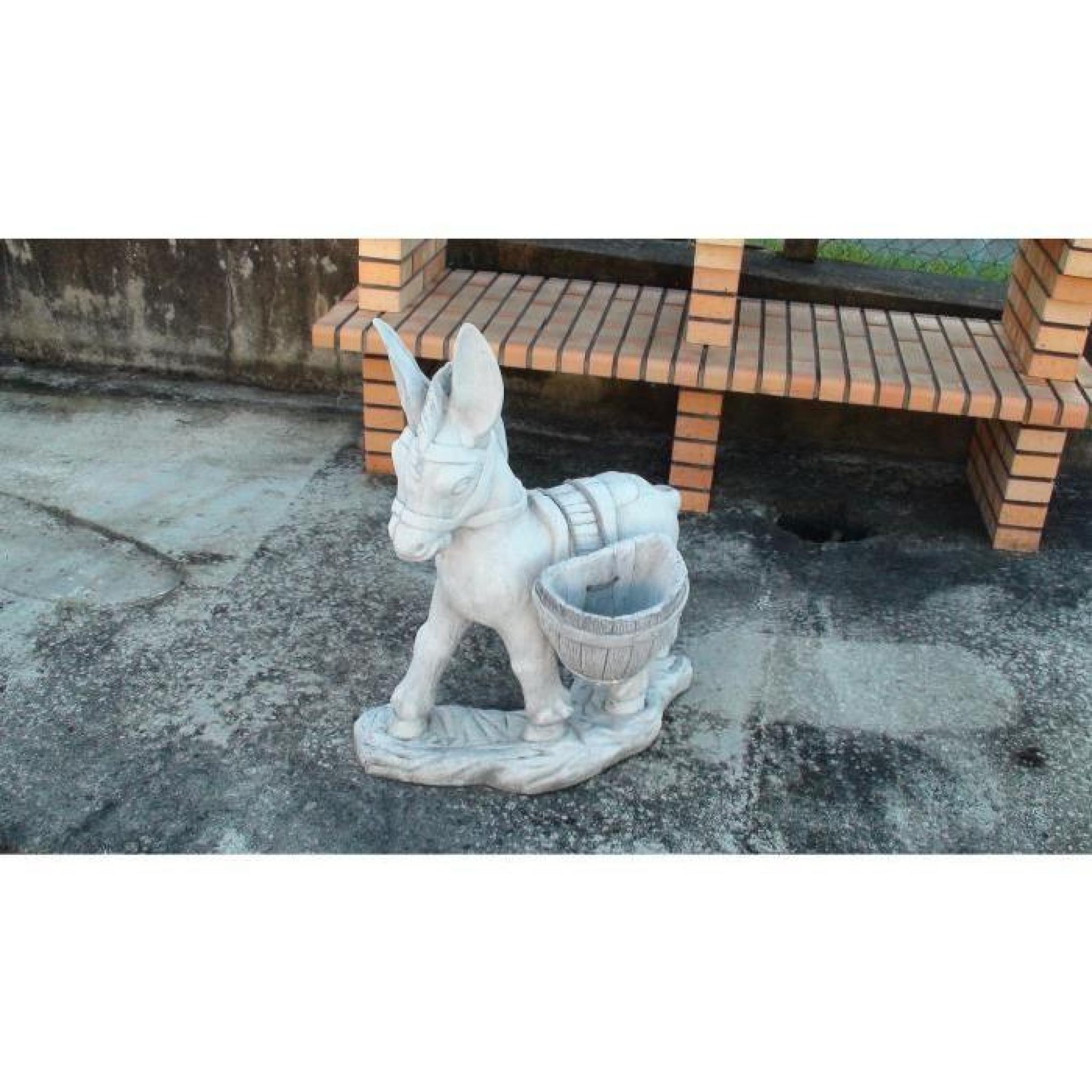 Statue Petit Âne Chargé De Deux Paniers Amovibles pour Statue De Jardin Pas Cher