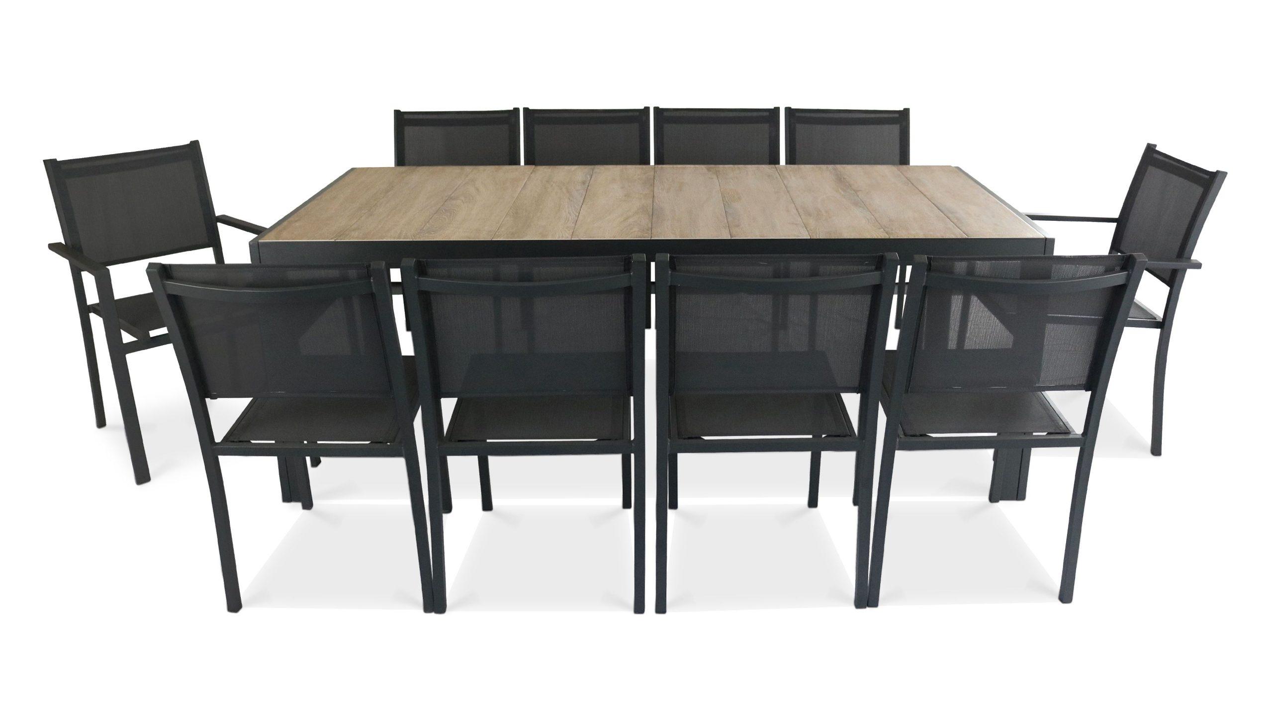 Table De Jardin 10 Places Aluminium Et Céramique   Oviala destiné Table De Jardin Design Pas Cher