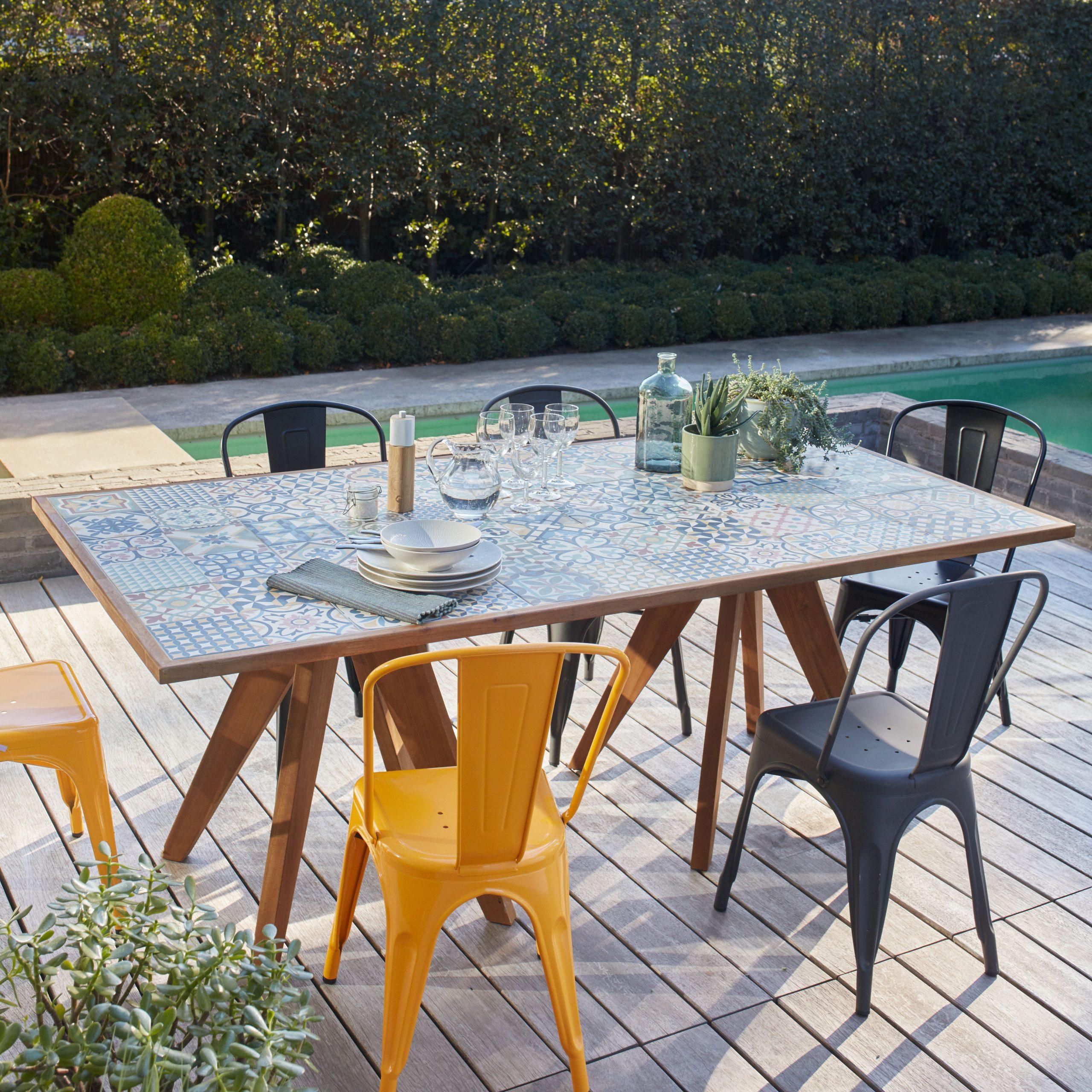 Table De Jardin De Repas Céramique Rectangulaire Marron 6/8 Personnes tout Leroy Merlin Mobilier De Jardin