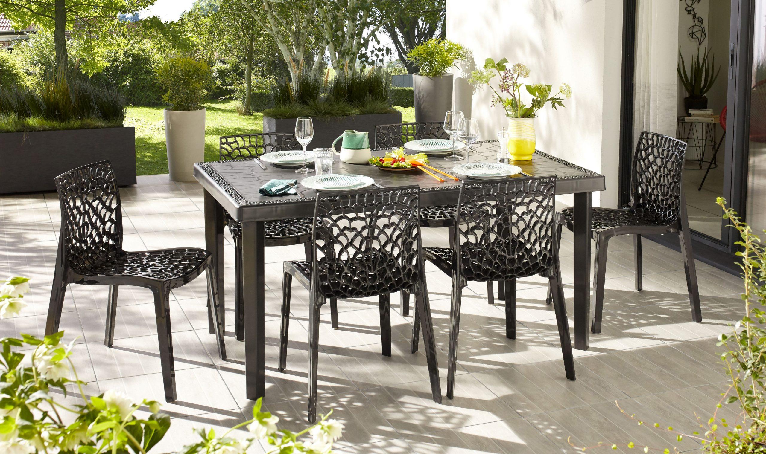 Table De Jardin De Repas Grafik Rectangulaire Anthracite 4/6 Personnes dedans Leroy Merlin Mobilier De Jardin