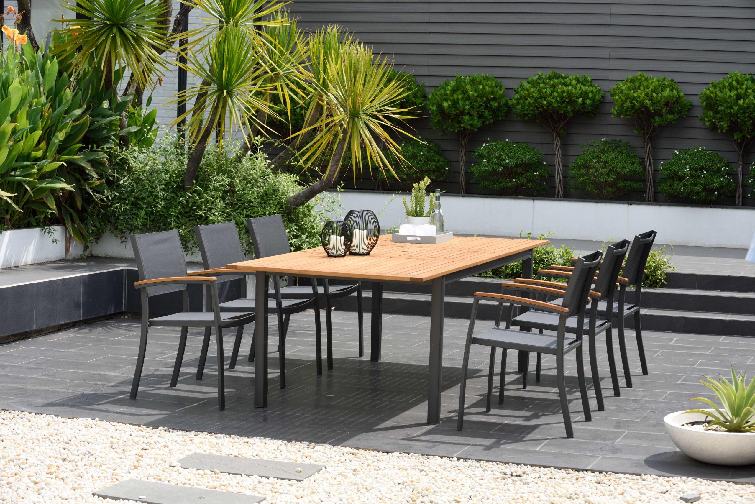 Table De Jardin De Repas Kingsburry Rectangulaire Naturel Et Gris De 6 À 8  Perso dedans Leroy Merlin Mobilier De Jardin