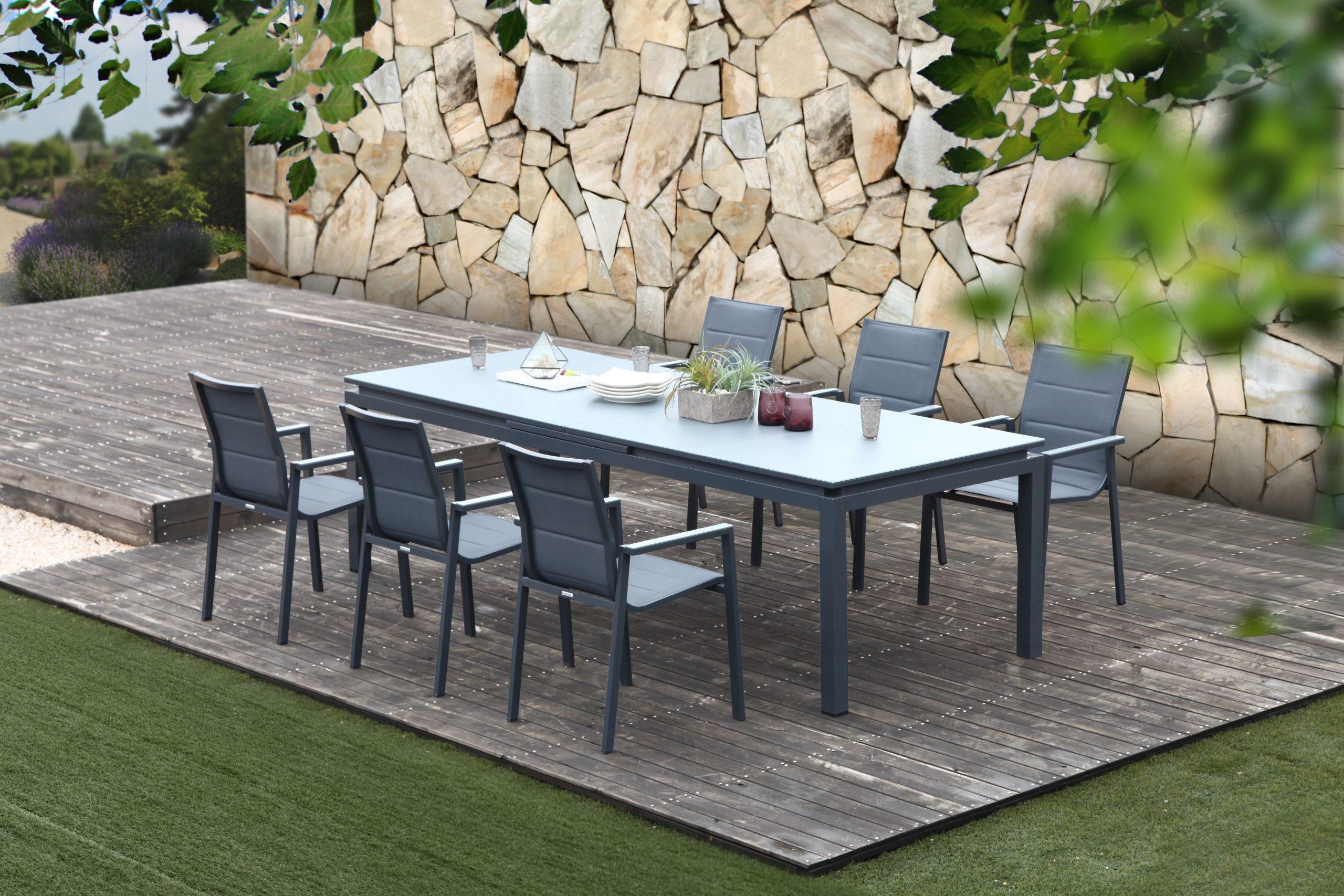 Table De Jardin De Repas Naterial Odyssea Rectangulaire Anthracite De 6 À  10 Per intérieur Leroy Merlin Mobilier De Jardin