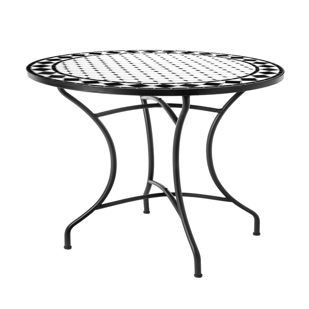 Table De Jardin Ronde 90Cm Plateau Céramique Et Structure ... avec Table De Jardin En Ceramique Ronde