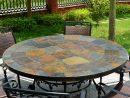 Table De Jardin Ronde Mosaique D'ardoise 125-160 Oceane concernant Table De Jardin En Ceramique Ronde
