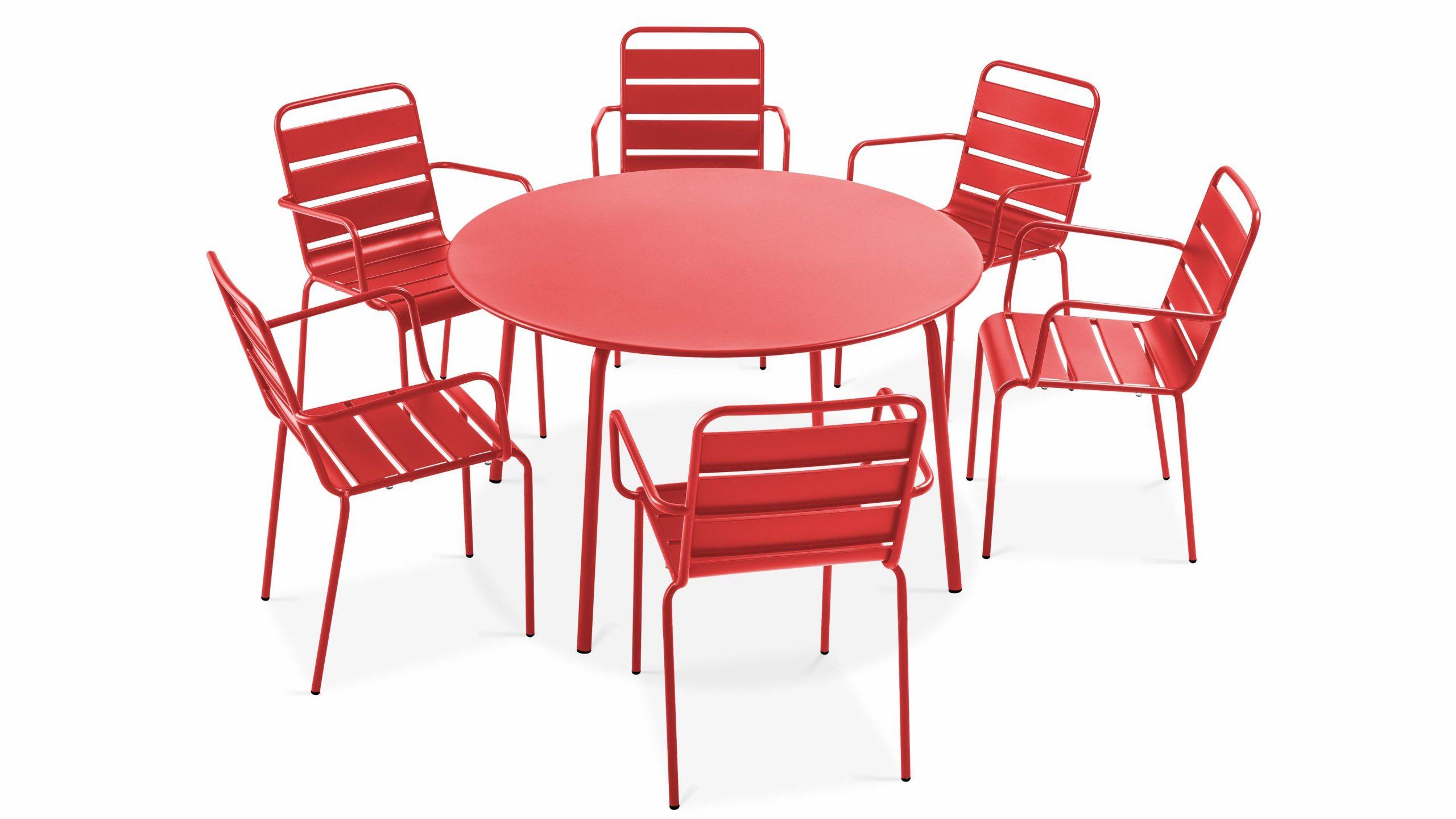 Table Jardin Ronde Grise 6 Places En Métal dedans Table Ronde Jardin Pas Cher