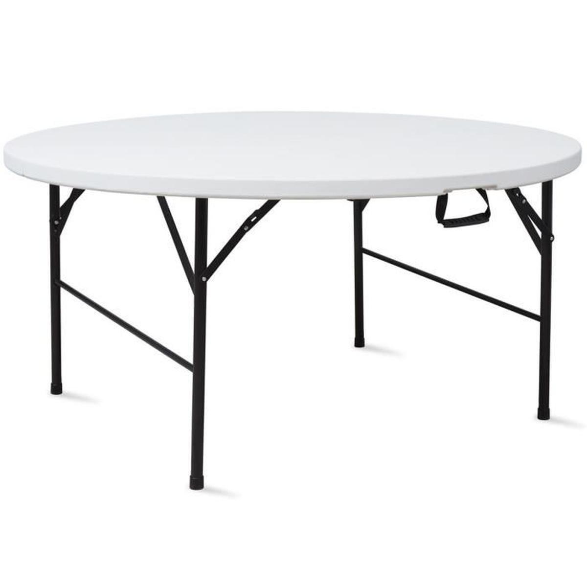 Table Pliante Ronde 180 Cm Portable - Achat / Vente Table De ... concernant Table Ronde Jardin Pas Cher