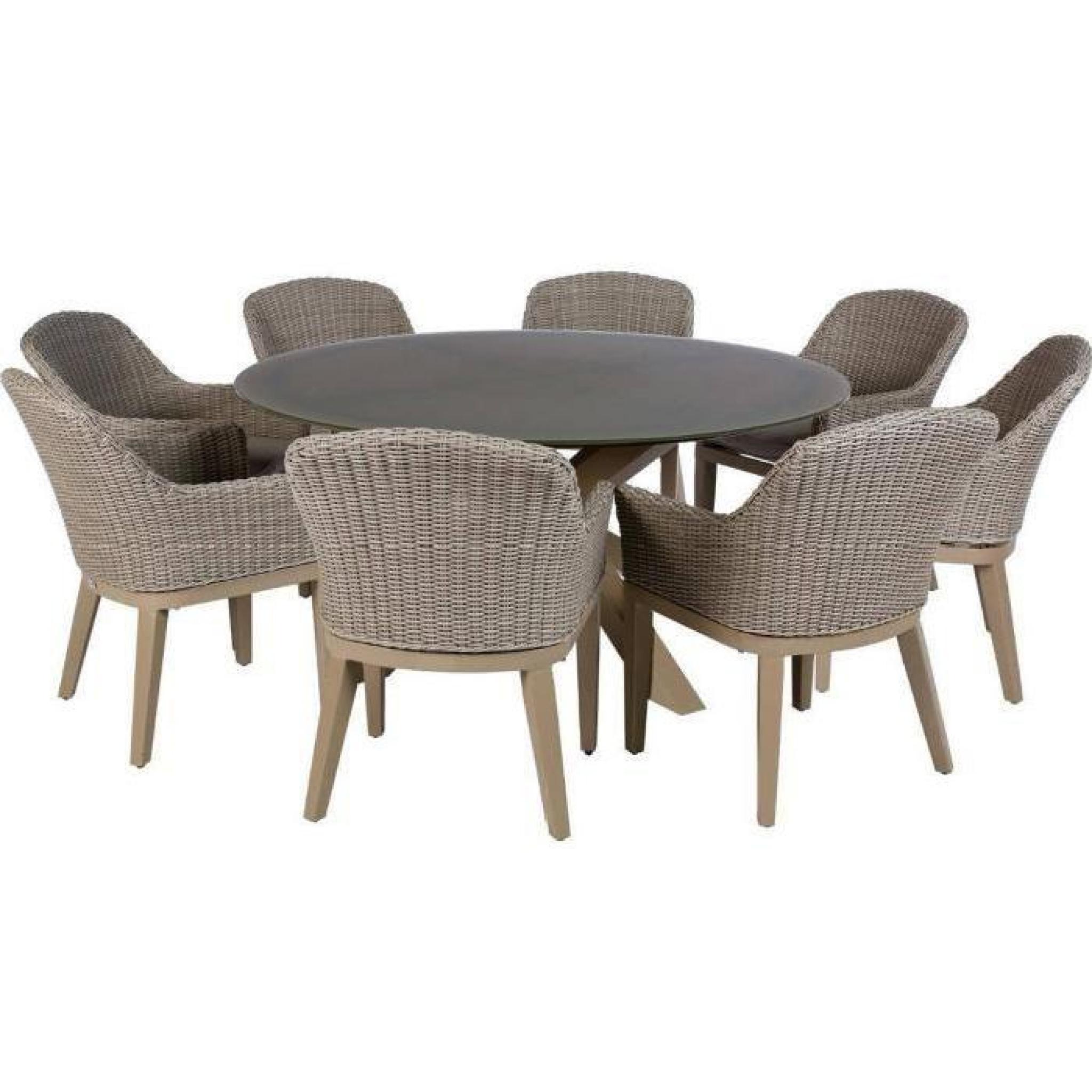 Table Ronde De Jardin En Aluminium Coloris Taupe - Dim : D 160 X H 75Cm pour Table Ronde Jardin Pas Cher