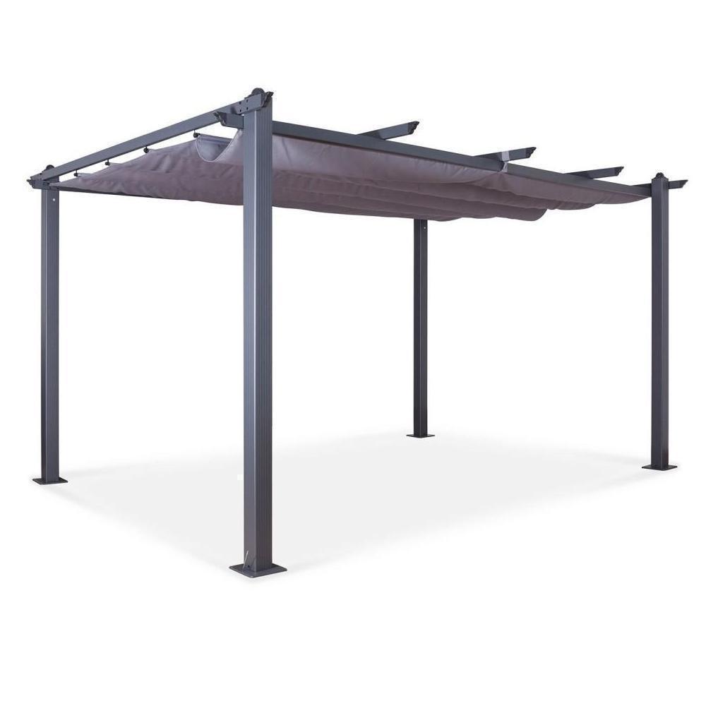 Tonnelle/pergola Aluminium 3X4M Toile Coulissante Rétractable - Gris - Hero  Xl concernant Tonnelle De Jardin Gifi