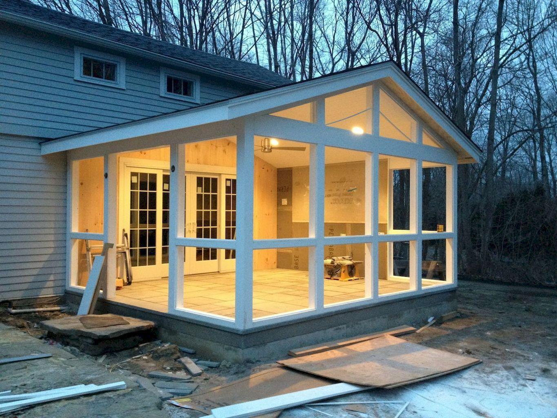 110 Best Farmhouse Porch Decor Ideas (40) | Foyer Extérieur ... à Terrasse Couverte Fermée