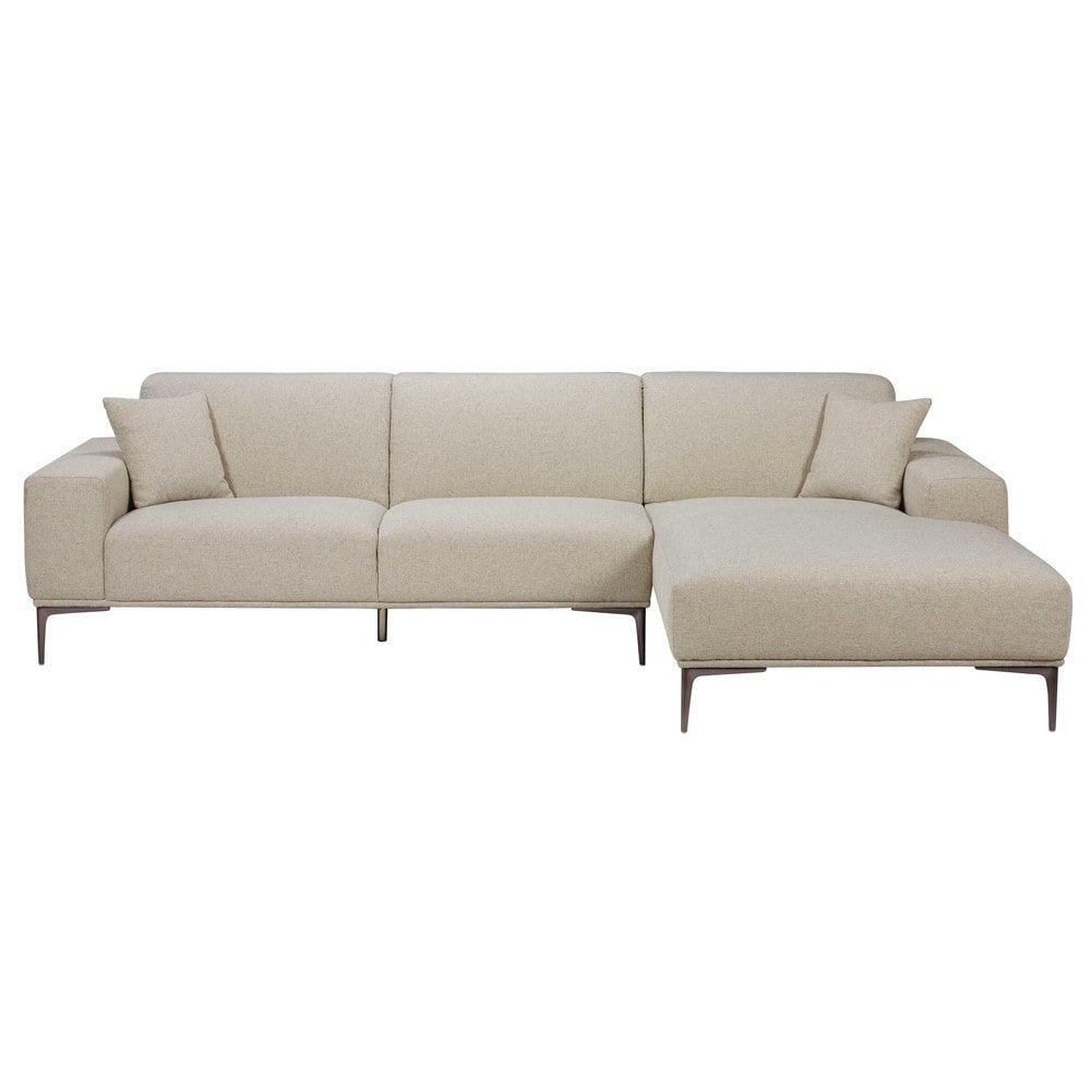 5-Sitzer-Ecksofa, Ecke Rechts, Hellgrauer | Maisons Du Monde ... dedans Canape Premium Confort
