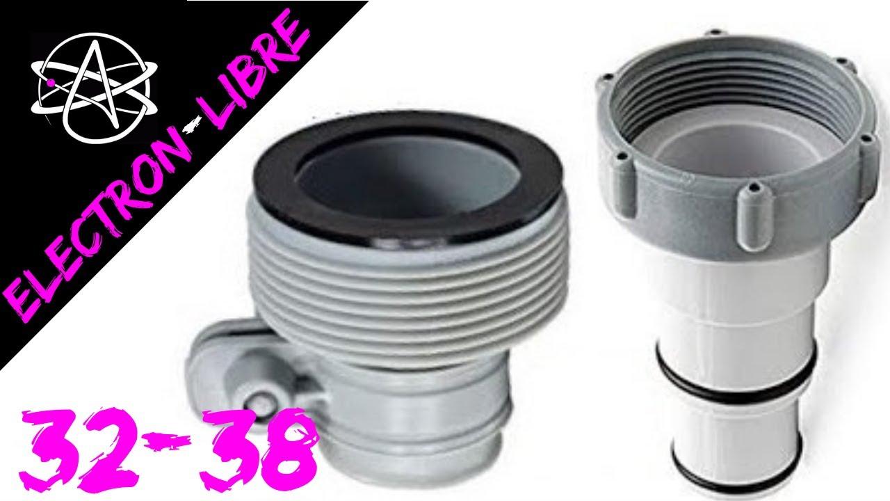 Adaptateurs Intex 32-38 Pour Raccorder Pompe & Piscine avec Tuyau Pour Piscine Hors Sol
