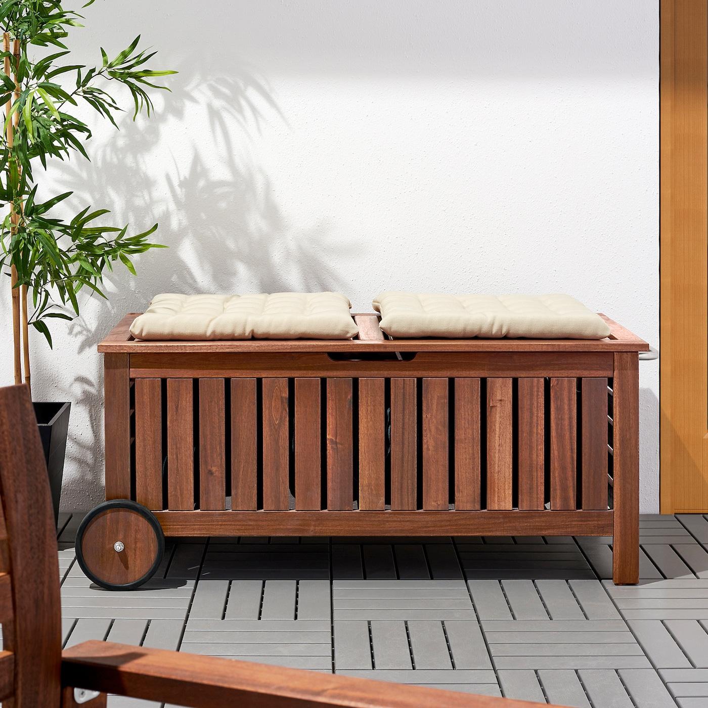 Äpplarö Banc Rangement, Extérieur - Teinté Brun 128X57 Cm avec Coffre De Rangement Jardin Ikea