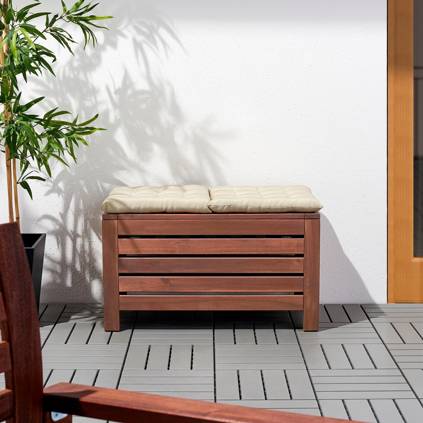 Äpplarö Banc Rangement, Extérieur - Teinté Brun 80X41 Cm tout Coffre De Rangement Jardin Ikea