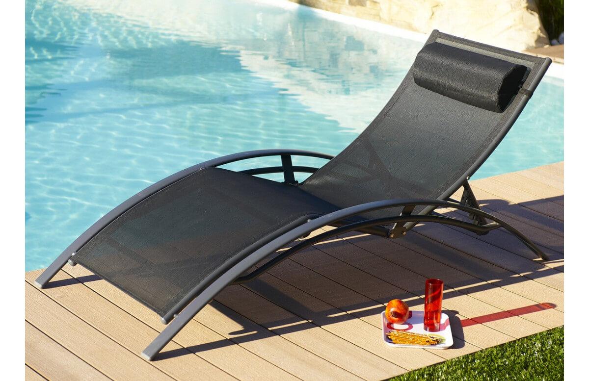 Bain De Soleil Design En Aluminium & Textilène 5 Positions Noir Dcb Garden intérieur Bain De Soleil Piscine