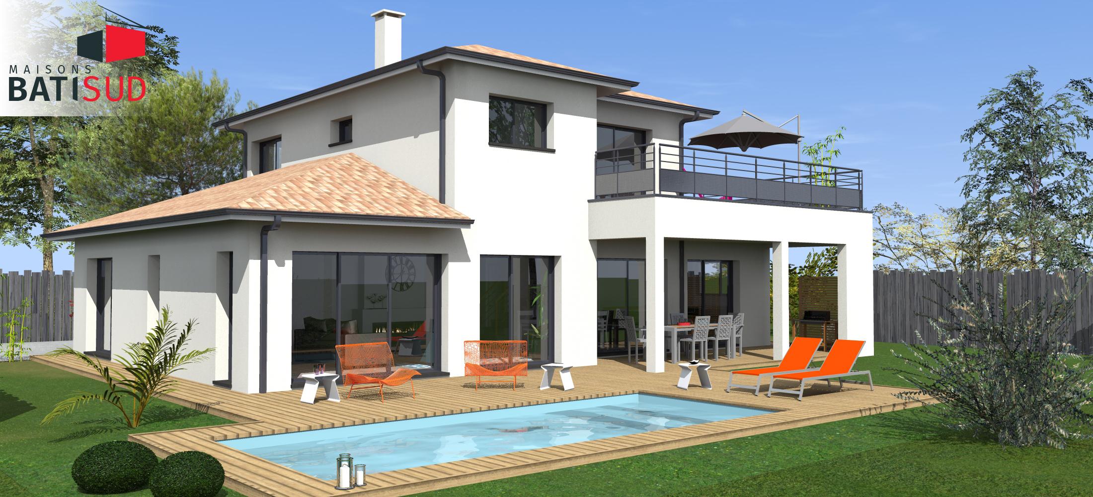 Belle Maison Moderne Avec Solarium Et Terrasse Couverte Sur ... dedans Maison Avec Terrasse Couverte
