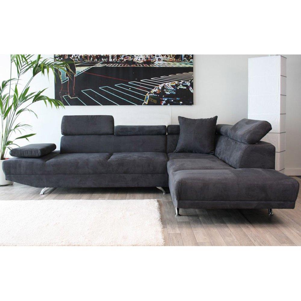 Canapé D'angle À Droite 3 Places En Microfibre Coloris Gris Anthracite encequiconcerne Canapé Premium Confort Gris Anthracite