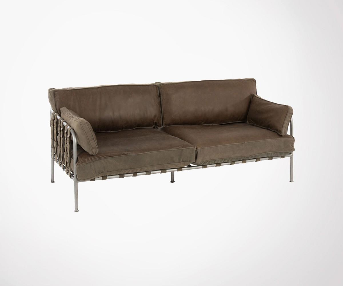 Canapé Design 180Cm Cuir Kaki Et Métal Style Industriel - J-Line avec Canapé Convertible Style Industriel