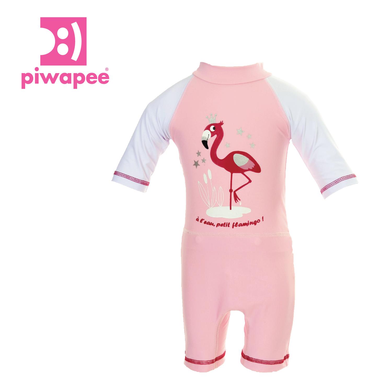 """Combinaison Anti - Uv Upf50+ Avec Couche Clipsable """" Swim+® """" Intégrée ~  Flamingo intérieur Combinaison Piscine Bébé"""