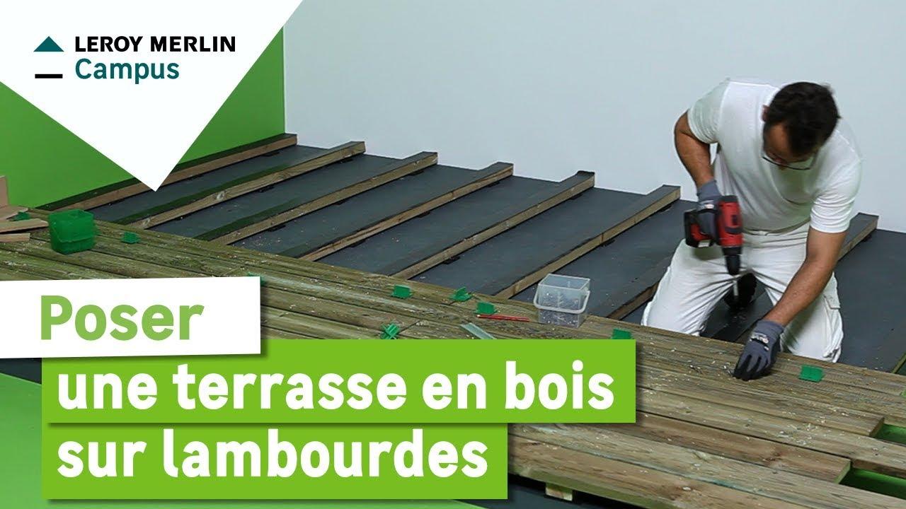 Comment Poser Une Terrasse En Bois Sur Lambourdes ? Leroy Merlin à Terrasse Sur Pilotis En Kit Leroy Merlin