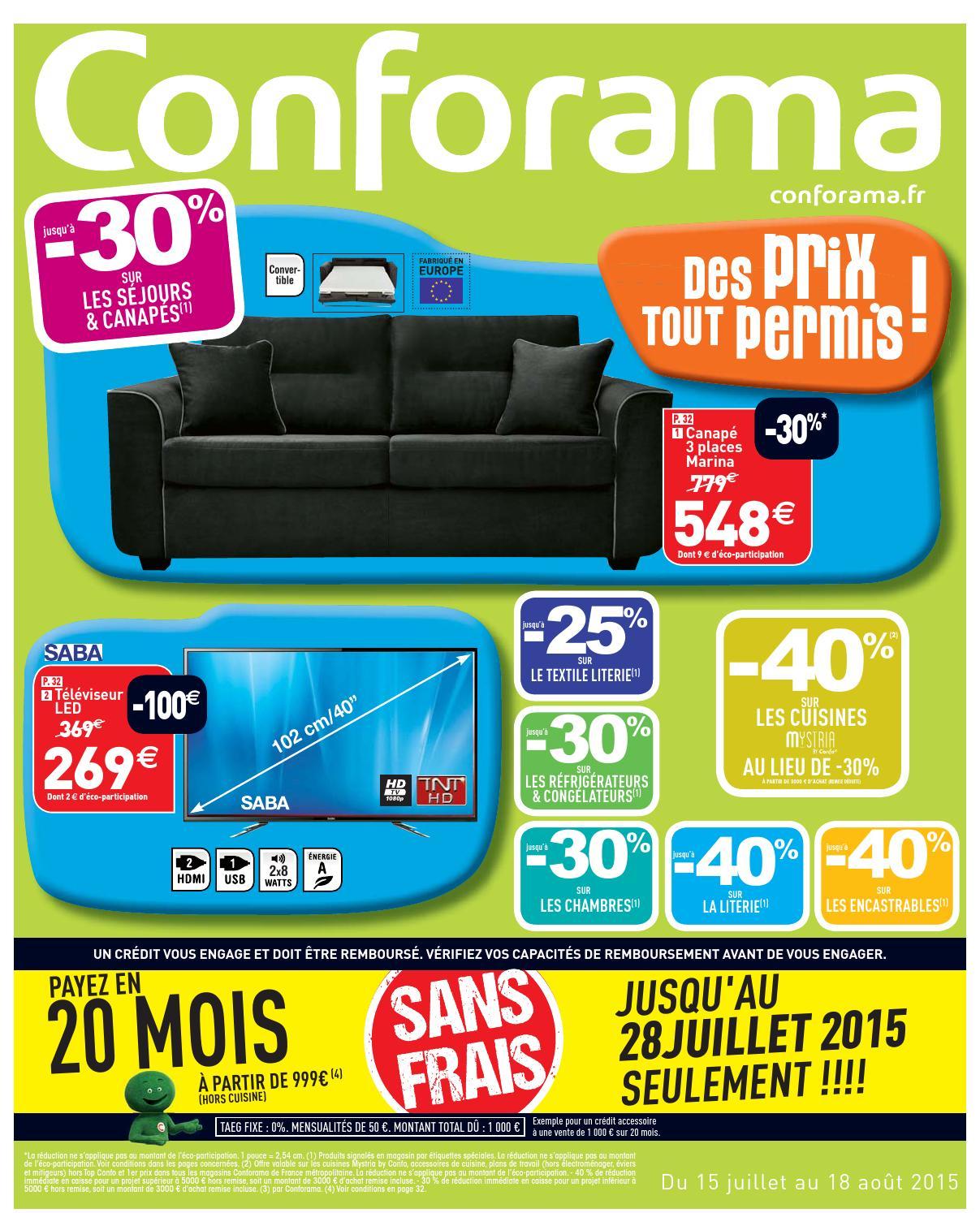 Conforama Catalogue 15Juillet 18Aout2015 By Promocatalogues ... pour Canapé Chelsea Conforama