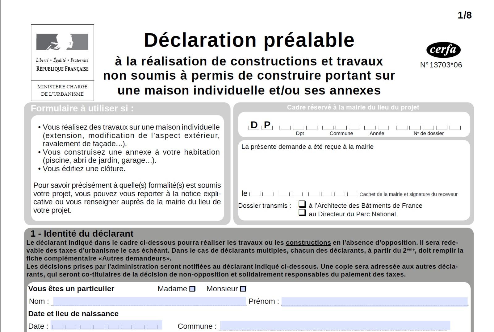 Declaration Préalable De Travaux Pour Piscine, Extension ... pour Exemple Declaration De Travaux Piscine