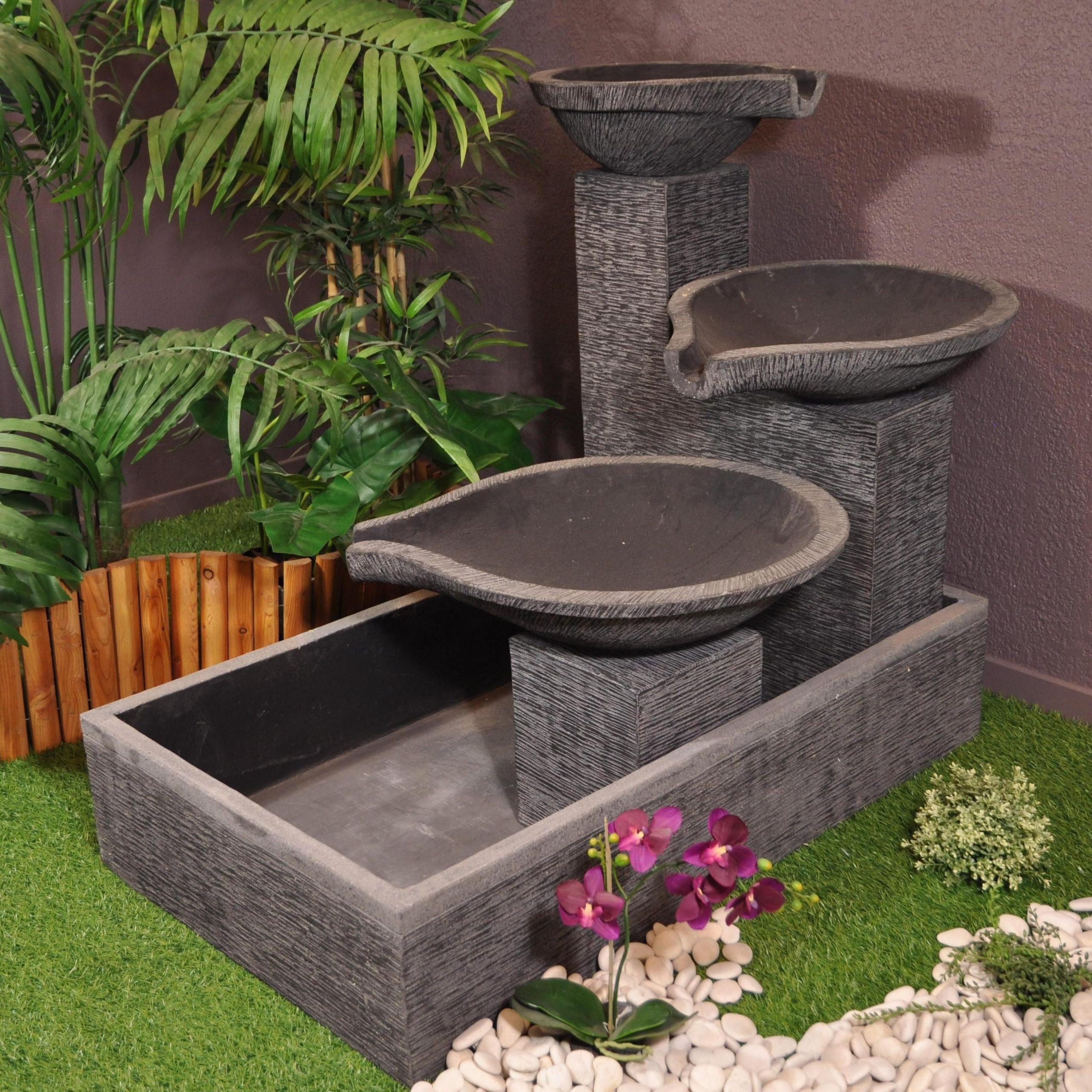 Fontaine De Jardin À Débordement Bassin 3 Vasques Noire ... tout Fontaine De Jardin A Debordement