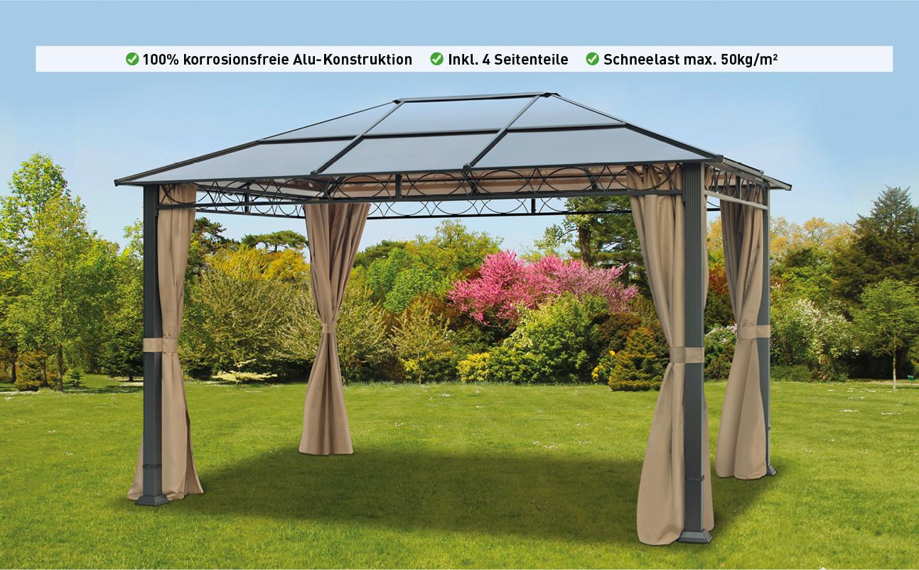 Gartenpavillon 3X4 M Wasserdicht Alu Deluxe Pavillon Partyzelt In Bronze  Lichtdurchlässiges Pc Dach tout Pergola 3X5