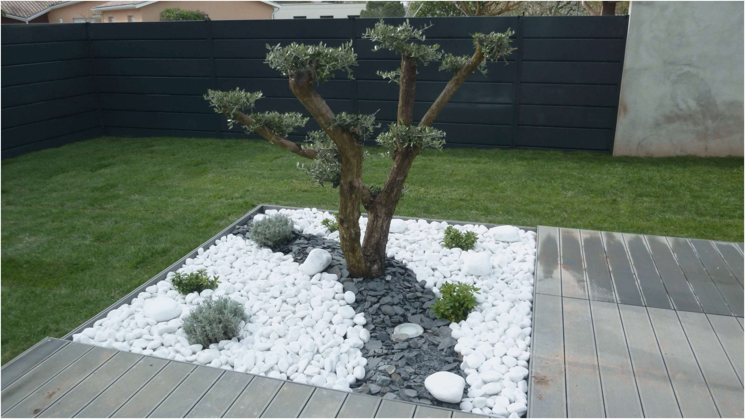 Idee Deco Jardin Avec Gravillon   Aménagement Jardin ... destiné Massif Decoratif Exterieur