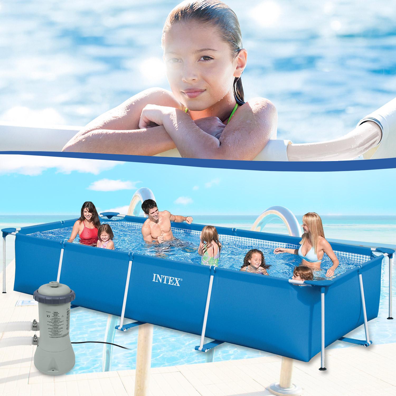 Intex Frame Pool Set Family 450X220X84 Cm - Mit Pumpe pour Piscine Familiale Intex