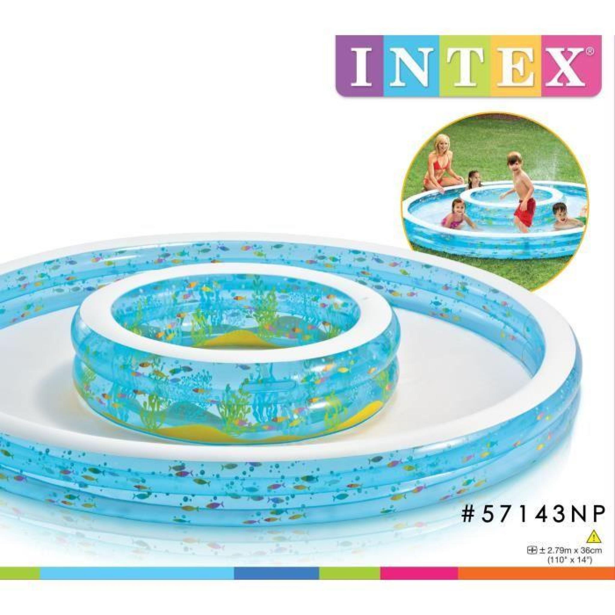 Intex Piscine 2 Tailles Gonflable À Débordement Enfant / Famille Double  Fontaines 279 X 36 Cm Avec Jets D'eau destiné Piscine Intex Enfant