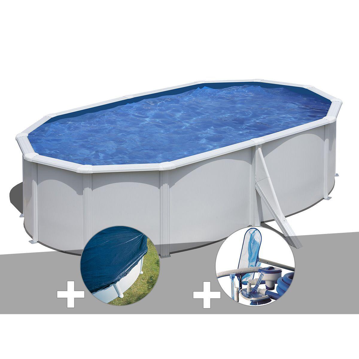 Kit Piscine Acier Blanc Gré Wet Ovale 5,27 X 3,27 X 1,22 M + ... encequiconcerne Bache Piscine Ovale