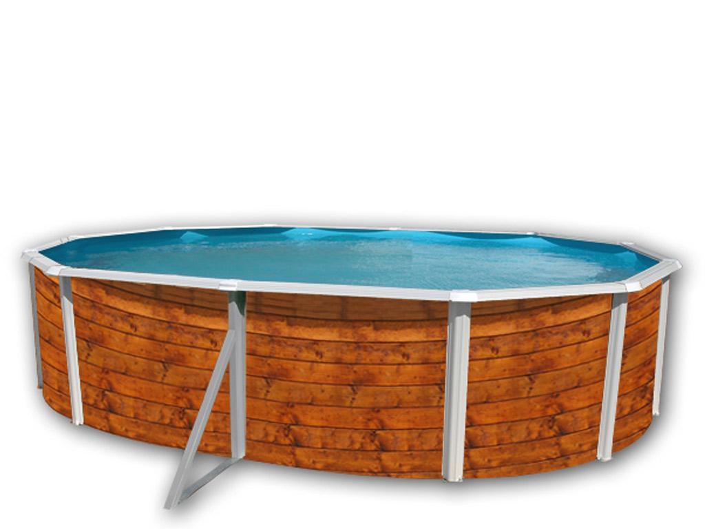 Kit Piscine Hors-Sol Acier Toi Etnica Ovale 5.50 X 3.66 X 1.20M Décor Bois pour Destockage Piscine Hors Sol